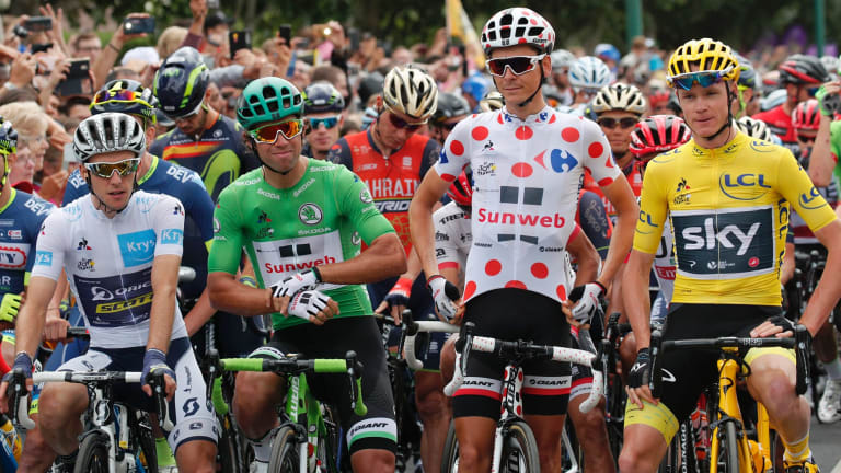 The big four: White jersey Simon Yates, green jersey Michael Matthews, King of the Mountains Warren Barguil, and yellow jersey Chris Froome on the start line in Montgeron on Sunday.