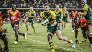 Happy hunting: Jack Wighton spreads the ball.