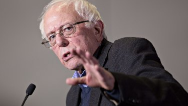 Senator Bernie Sanders speaks during a rally in Sioux City, Iowa, on Monday.