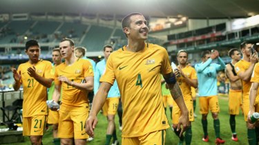 Road to Russia: The Socceroos thank fans after defeating Jordan 5-1 to top their qualifying group last month.