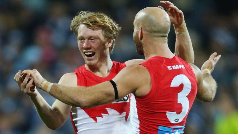 Happy days: Callum Mills celebrates a goal with Jarrad McVeigh.