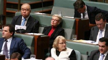 Former Speaker Bronwyn Bishop sits on the backbench.