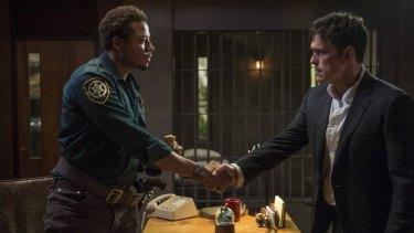 Matt Dillon (right) and Terrence Howard in <i>Wayward Pines</i>.