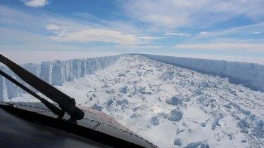 Trillion-tonne Larsen C ice shelf in Antarctica in February before it broke away earlier this month.