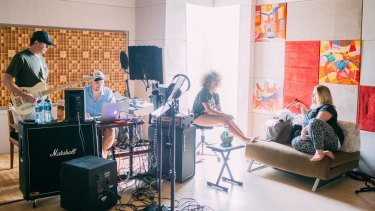 From left: John Alagia, Louis Schoorl, Fleur East and Maegan Cottone at work in one of the recording studios.