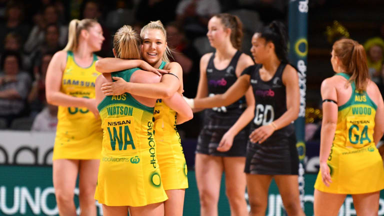 The Diamonds celebrate their win over the Silver Ferns in Adelaide.