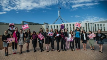 The takeover team arriving at Parliament House on Wednesday.