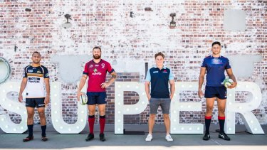ACT Brumbies co-captain Christian Lealiifano, Queensland Reds captain Scott Higginbotham, NSW Waratahs captain Michael Hooper and Melbourne Rebels captain Adam Coleman at Sunday's Super Rugby launch.