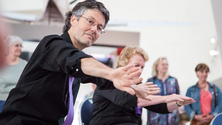Philip Piggin with a Dance for Parkinson's group at Belconnen Arts Centre. He has been a major player in the growth of dance programs for people of mixed abilities.