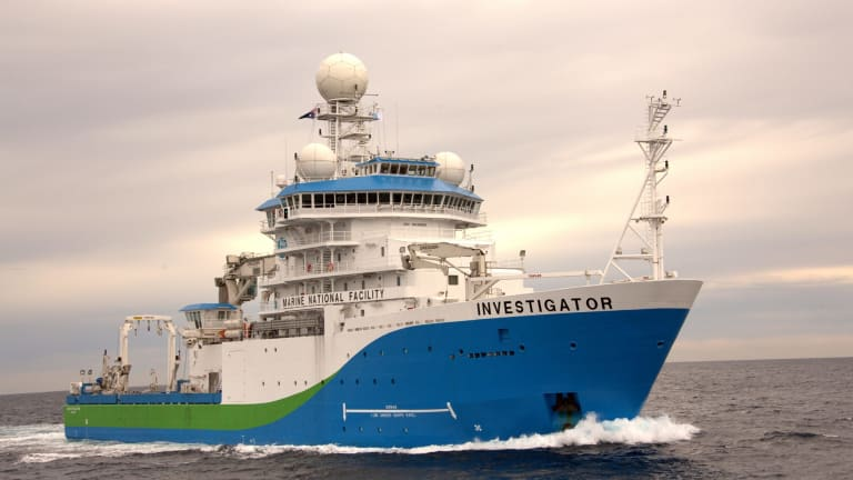 RV Investigator, Australia's new $126 million research vessel, at work.