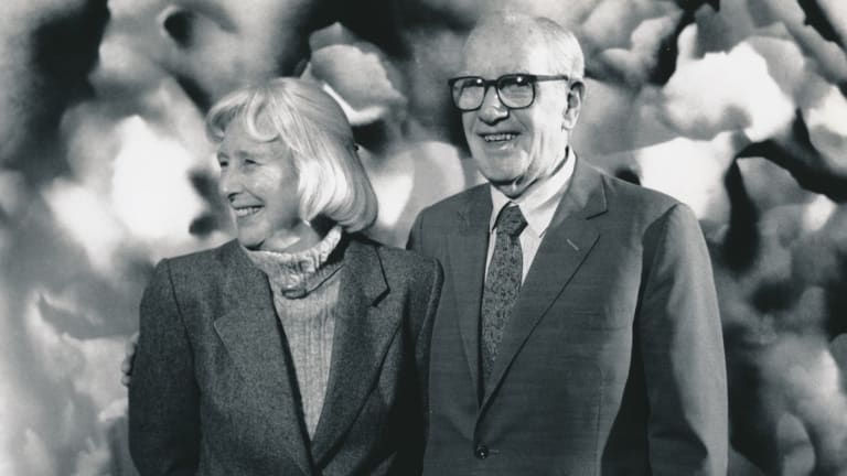 Mary and Sidney Nolan at the National Gallery of Victoria on his 75th birthday in 1992.