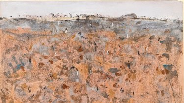 You Yangs landscape 1, 1963, watercolour, gouache and coloured chalks (detail).