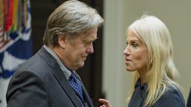 Kellyanne Conway, senior adviser to US President Donald Trump speaks with Steve Bannon.