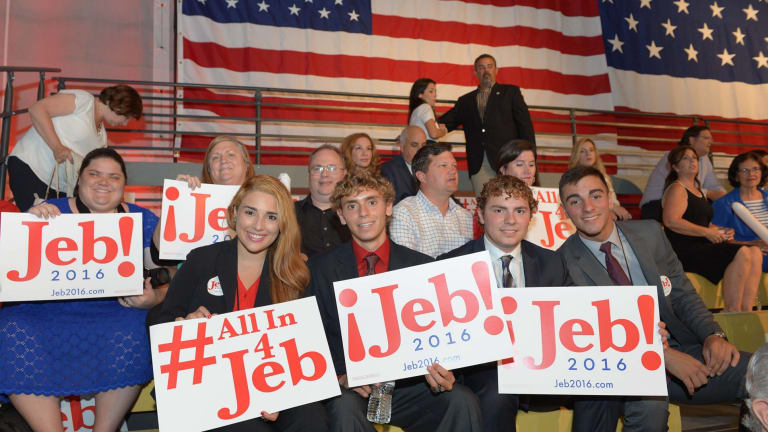 Supporters attend an event to hear former Republican Governor of Florida Jeb Bush's announcement of his candidacy for the 2016 Presidential elections at Miami-Dade College, Kendall Campus in Miami.