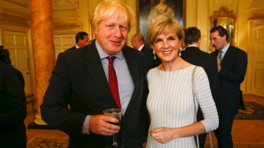 Boris Johnson and Julie Bishop catch up at 10 Downing Street on Thursday.