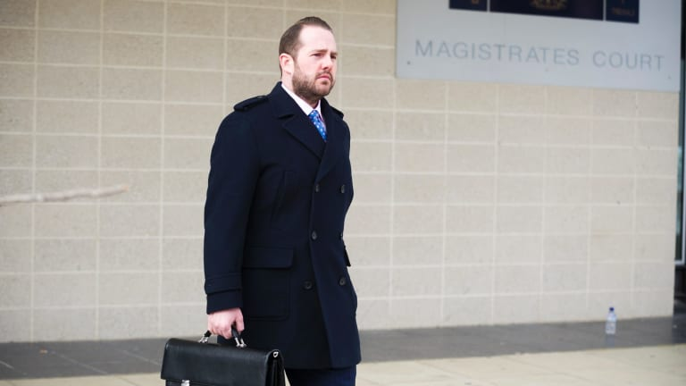Defence lawyer Peter Woodhouse outside the court on Saturday.