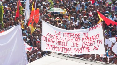 At least 10,000 people attended a protest in Dili last year against Australia's stance on the oil and gas meridian line in the Timor Sea.