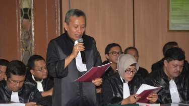 The prosecution makes its case in North Jakarta District Court.