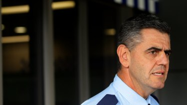 """""""Very sad and serious"""": Chief Inspector Trevor Shiels speaks at Waratah police station."""