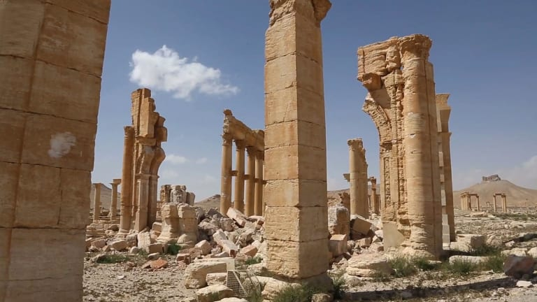 Damage at the ancient ruins of Palmyra.
