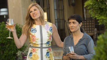 Connie Britton (left) plays a private client to Salma Hayek's alternative healer in Beatriz at Dinner.