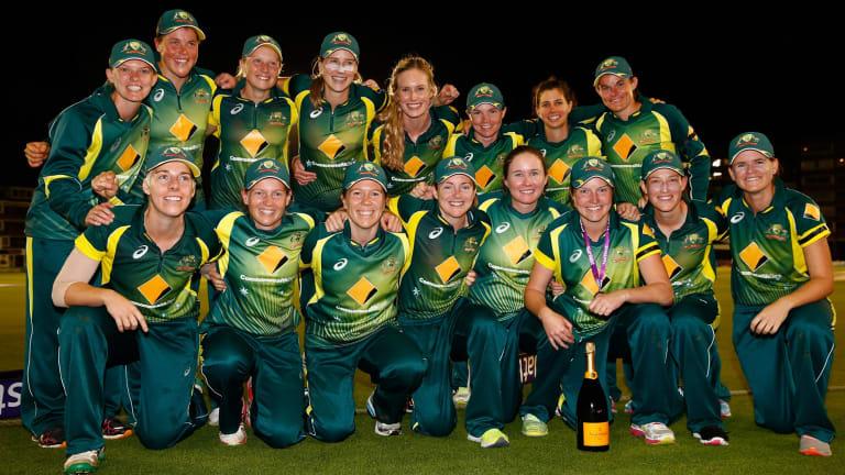Australia celebrates the victory.