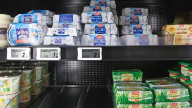 The shortage of butter can be seen on a shelf at a supermarket in Versailles, west of Paris, France.