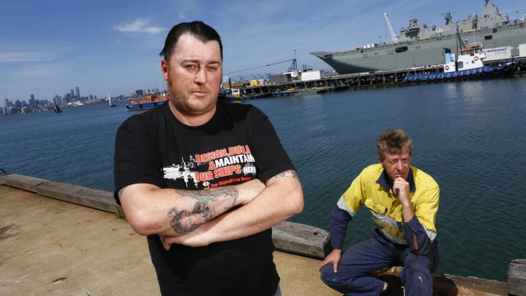 Uncertain future: Workers Leon White, left,  and Mark Arneill of the Williamstown Shipyards.  Photo: Eddie Jim