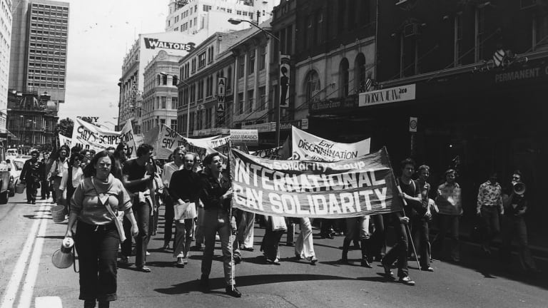 Homosexuals demonstrate in the morning march in Sydney before a street parade that would eventually evolve into the Sydney Mardi Gras.