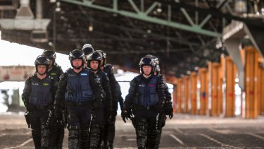 In safe hands: Victoria Police's Operations Response Unit training with the Public Order Response Team.