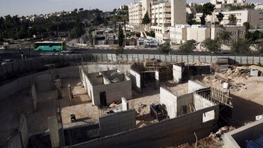 Israeli construction on land owned by Palestinian Mohammad Abu Taa, in east Jerusalem. Abu Taa discovered some years ago that the Israeli government had expropriated the piece of land in Jerusalem belonging to his family and handed it over to an organization that oversees Jewish settlement building in the West Bank.