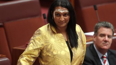 Peris delivers her maiden speech in the Senate in November 2013.