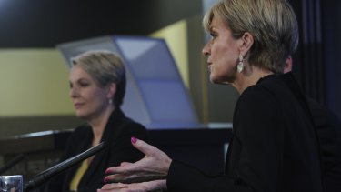 Minister for Foreign Affairs Julie Bishop and opposition spokeswoman Tanya Plibersek on Tuesday.