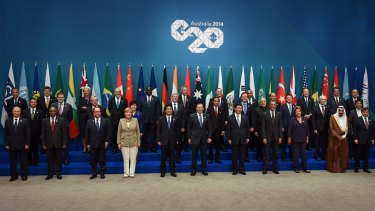 Heads of state at the G20 summit in Brisbane: Growth goals are now in doubt.