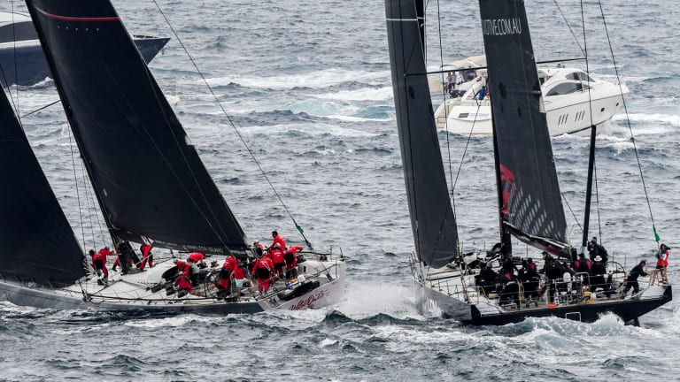 Close call: The incident outside the Sydney heads where Wild Oats XI (left) narrowly avoids a collision with LDV Comanche.