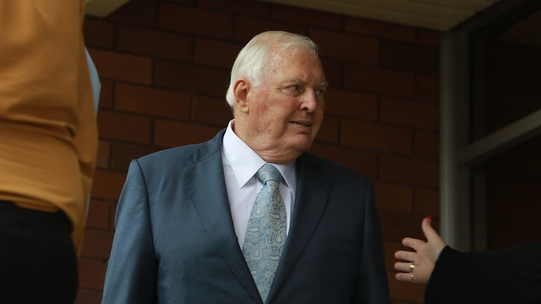 Alan Bond at the memorial service for his ex-wife, Diana Bliss.