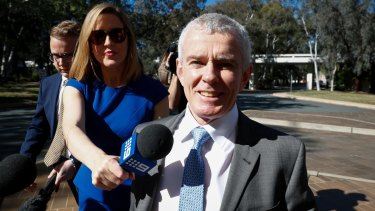 One Nation senator Malcolm Roberts arrives at the High Court on Thursday.