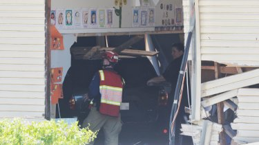 The Toyota Kluger after it crashed into a classroom at Banksia Road Public School.