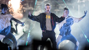 Justin Bieber in concert at ANZ Stadium.