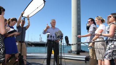 Prime Minister Malcolm Turnbull speaks to the media after stepping off an Australian Border Force patrol boat.