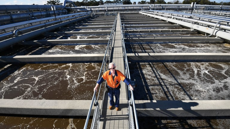 Think before you flush: operator David Murray inspects the vast aeration tanks of the Eastern Treatment Plant in Melbourne's south-east.