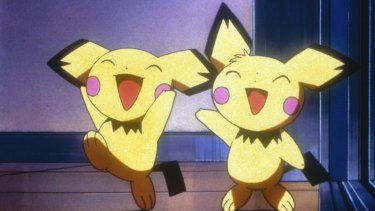 """Still from the movie """"Pokémon 3"""" showing the two Pikachu characters laughing. Who doesn't enjoy a cuddly monster hunt?"""