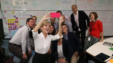 Foreign Affairs Minister Julie Bishop with InnovationXchange staff.