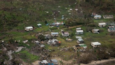 Damaged buildings at Nakama settlement in Fiji, after Cyclone Winston's landfall.