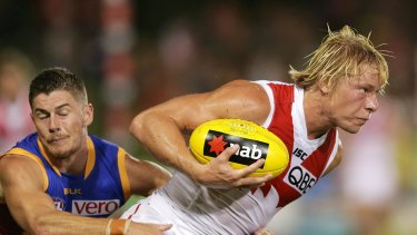 Ready for the Bombers:  Isaac Heeney playing against Brisbane in the NAB Challenge.