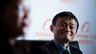 Jack Ma at the launch of Alibaba's office in Melbourne in February.