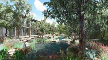 The proposal for the Australian Habitat and Taronga Wildlife Retreat.