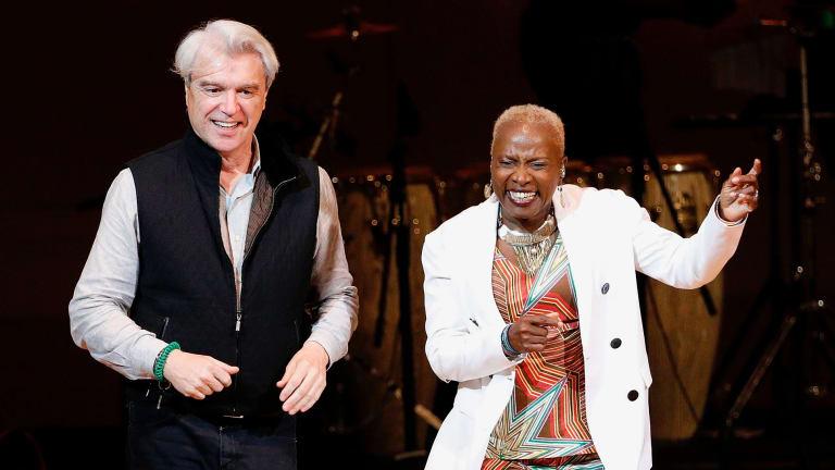 David Byrne joins Angelique Kidjo on stage at Carnegie Hall.