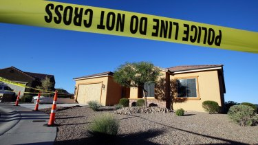 Police tape blocks off the home of Stephen Craig Paddock in Mesquite, Nevada.