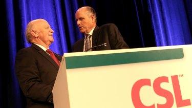 CSL chairman John Shine (left) and chief executive Paul Perreault (right).